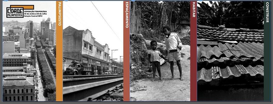 Fotos de Belo Horizonte antiga, mostrando edificações e pessoas.